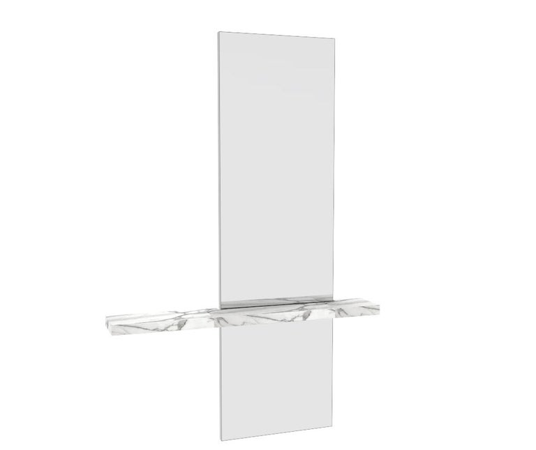 American Sculptural Edgewater Minimal Contemporary Mirror with Carrara Marble Shelf For Sale