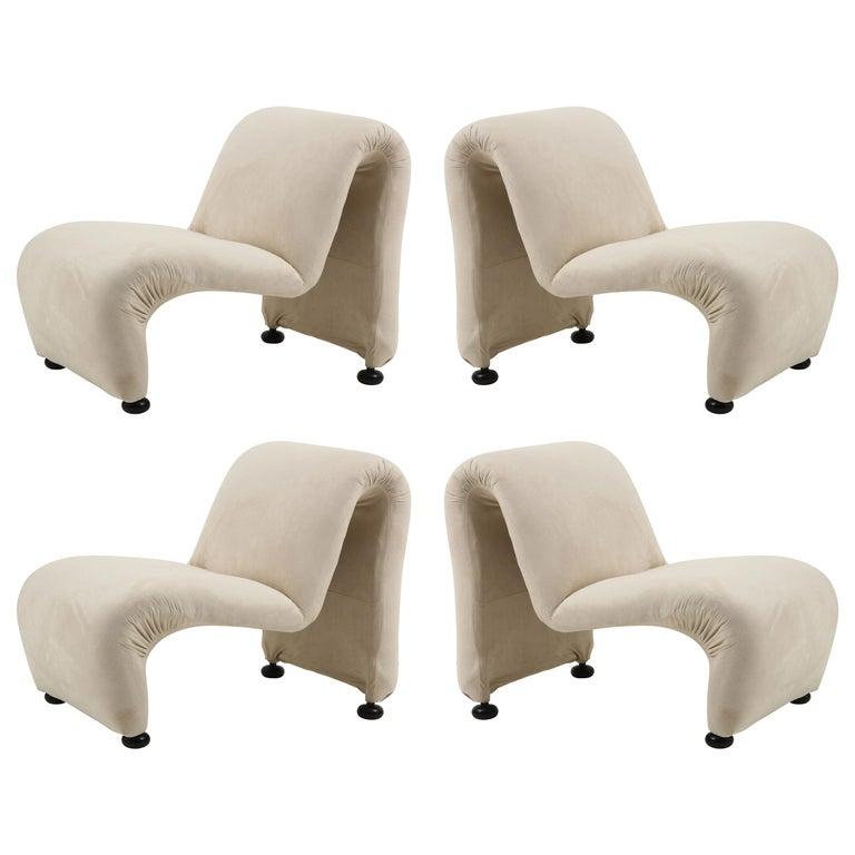 Sculptural Etienne Fermigier Lounge Chairs, White, 1970s France For Sale
