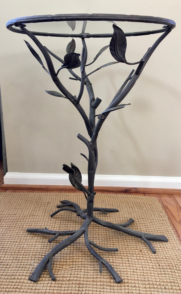Sculptural Faux Bois Metal and Glass Round Drinks Side Table In Good Condition In Lambertville, NJ