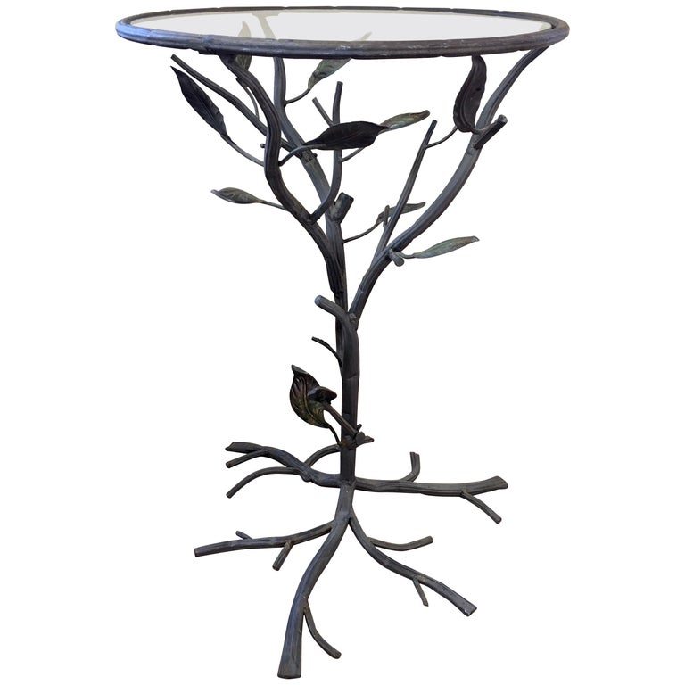 Sculptural Faux Bois Metal and Glass Round Drinks Side Table