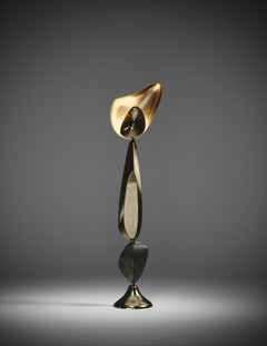Sculptural Floor Lamp in Bronze-Patina Brass and Parchment Inlay by Kifu Paris