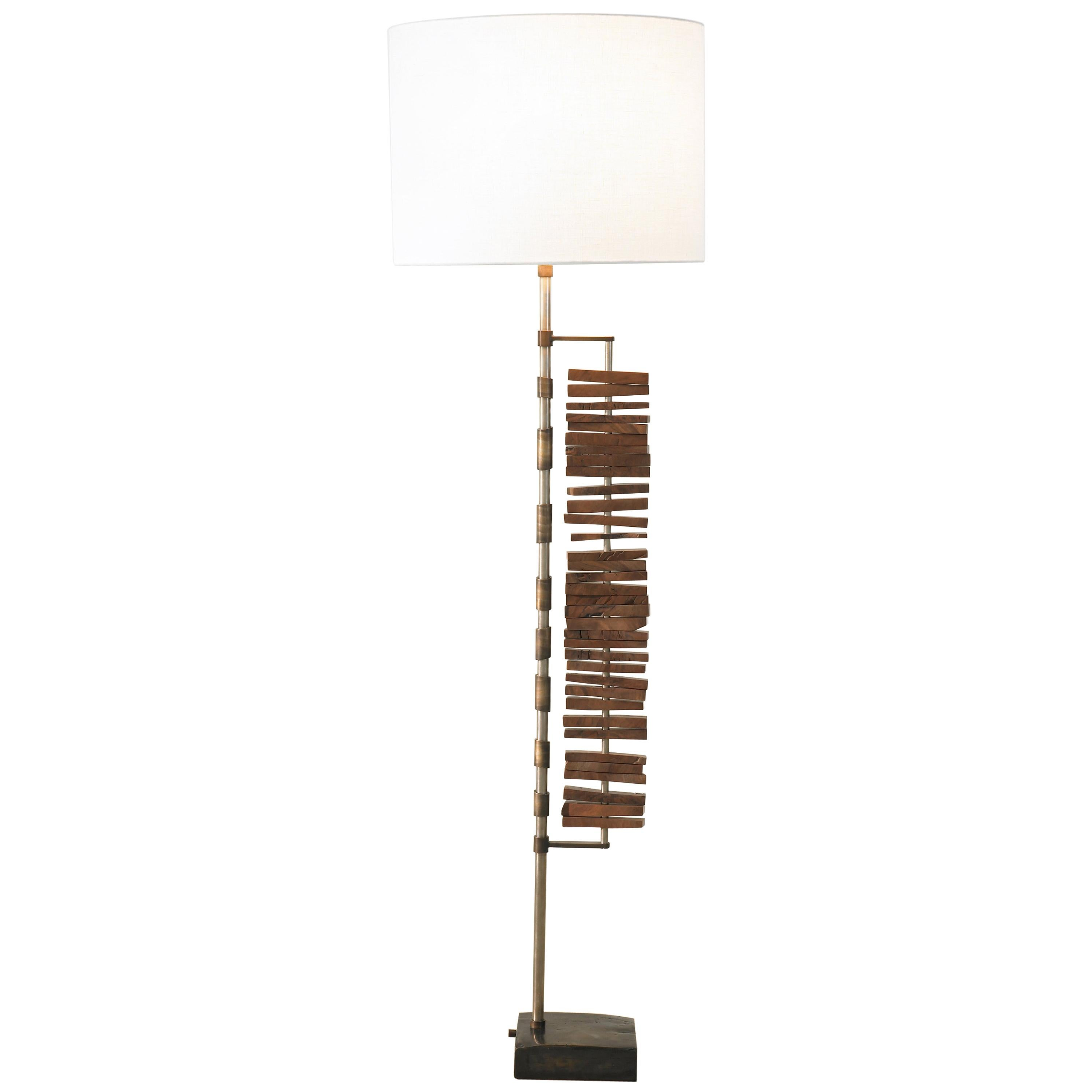 Sculptural Floor Lamp Walnut Bronze and Nickel Plated Finish by Carbonell Design