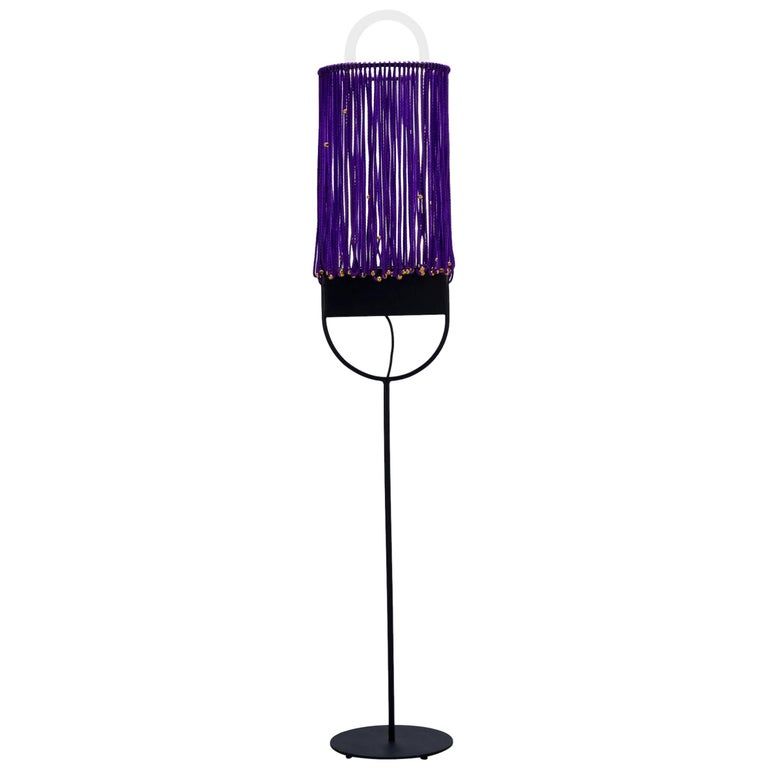 Sculptural Floor Lamp With Pearl And Neon Purple Contemporary Style For