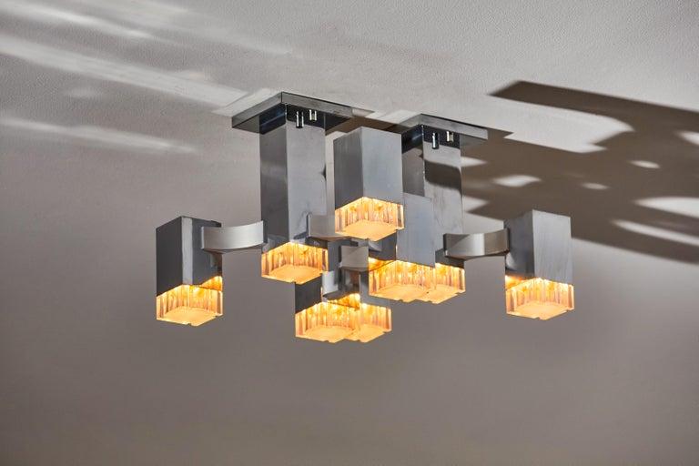 Mid-Century Modern Sculptural Flush Mount Ceiling Light by Gaetano Sciolari For Sale