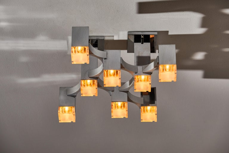 Sculptural Flush Mount Ceiling Light by Gaetano Sciolari In Good Condition For Sale In Los Angeles, CA
