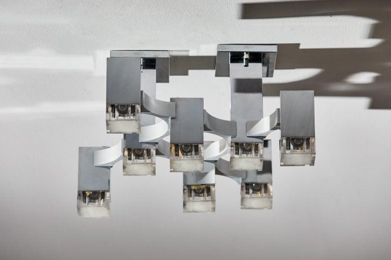 Aluminum Sculptural Flush Mount Ceiling Light by Gaetano Sciolari For Sale