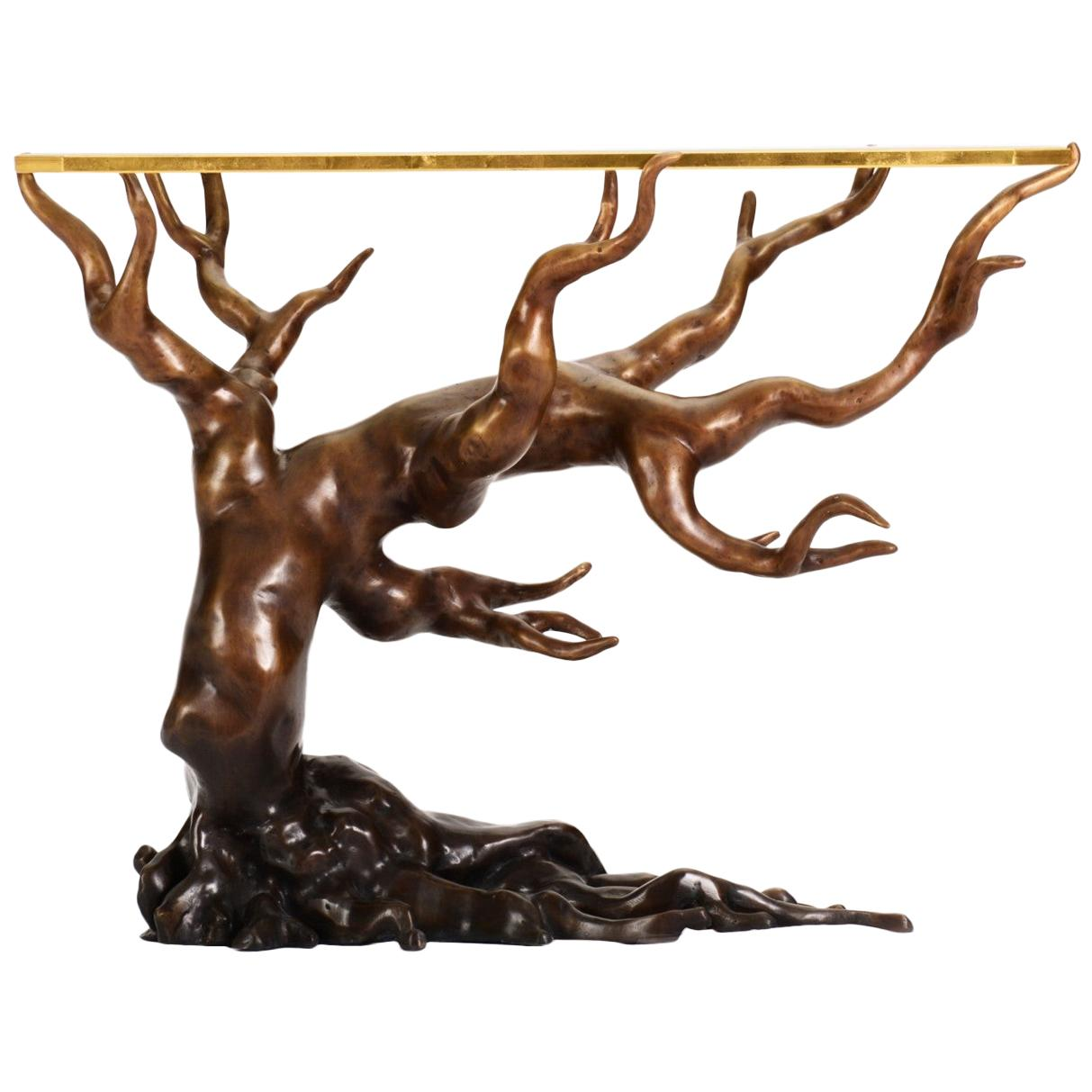 Sculptural Forest Side Table in Cast Bronze and Glass by Elan Atelier