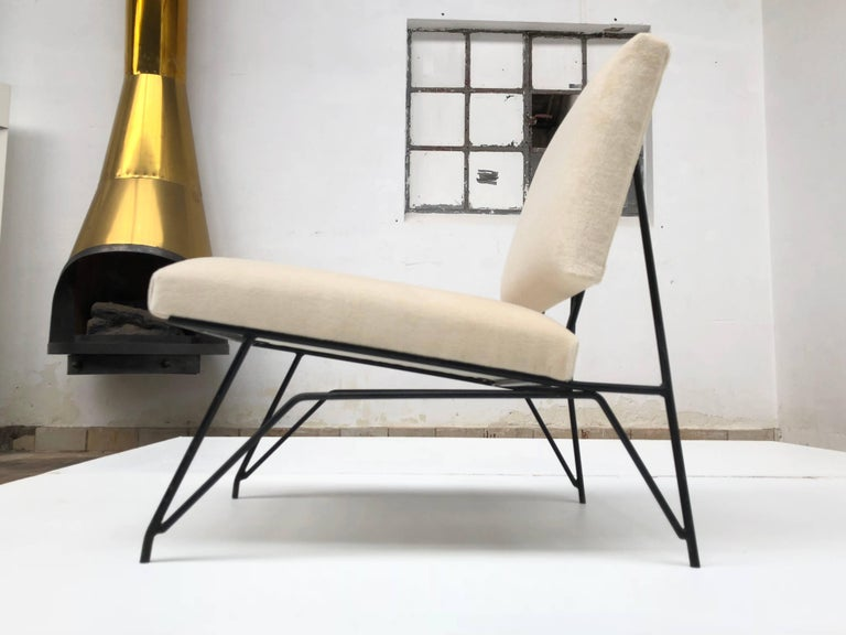 Steel Sculptural Form Lounge Chair Attributed to Ravegnati & Vincenzi for D'arbo, 1950 For Sale