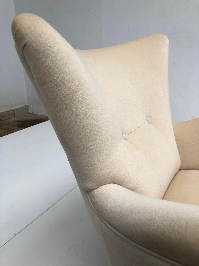 Sculptural Form Lounge Chairs, Mohair Fabric with Brass Legs, ISA, Italy, 1950 For Sale 4