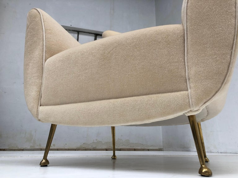 Mid-Century Modern Sculptural Form Lounge Chairs, Mohair Fabric with Brass Legs, ISA, Italy, 1950 For Sale