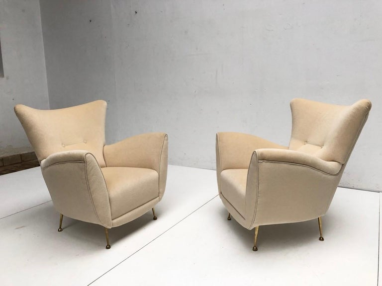 Cast Sculptural Form Lounge Chairs, Mohair Fabric with Brass Legs, ISA, Italy, 1950 For Sale