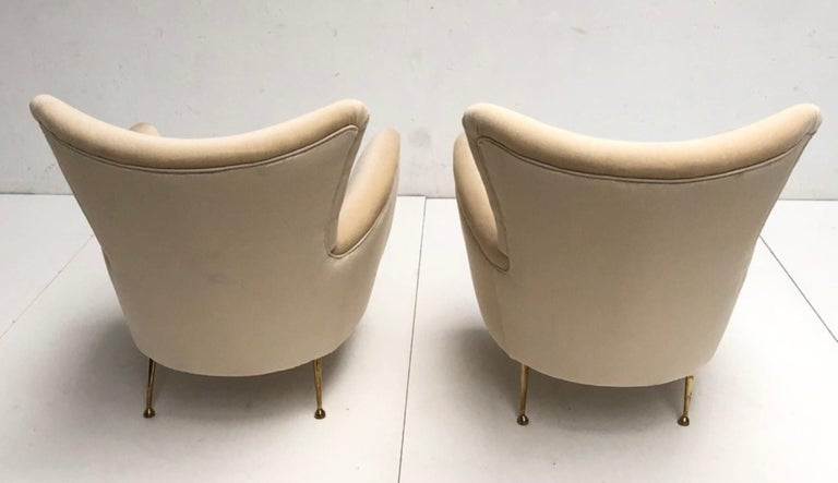 Seagrass Sculptural Form Lounge Chairs, Mohair Fabric with Brass Legs, ISA, Italy, 1950 For Sale