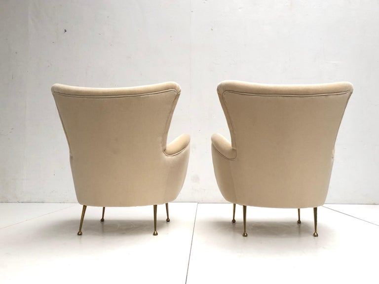 Sculptural Form Lounge Chairs, Mohair Fabric with Brass Legs, ISA, Italy, 1950 For Sale 1