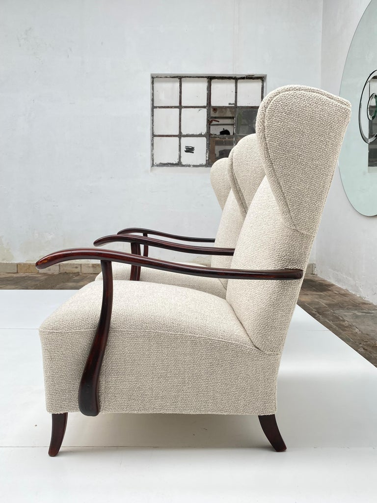 Hand-Crafted Sculptural Form Wing Back Lounge Chairs Attributed to Paolo Buffa, 1940s, Italy For Sale