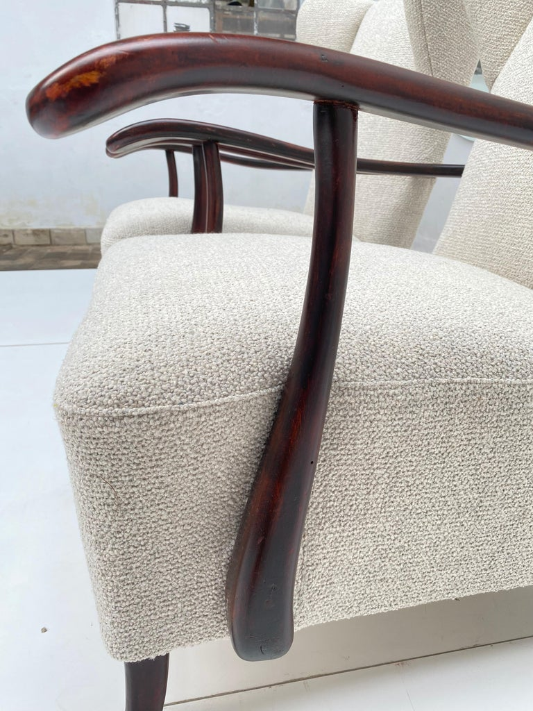 Steel Sculptural Form Wing Back Lounge Chairs Attributed to Paolo Buffa, 1940s, Italy For Sale