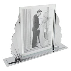 Sculptural French Art Deco Modernist Chrome Picture Photo Frame
