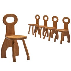 Sculptural French Dining Chairs in Solid Oak