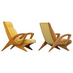 Sculptural French Lounge Chair in Elm circa 1960 Paris France Mid-Century Modern