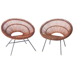 Sculptural French Rattan and Iron Chairs by Dirk Jan Rol