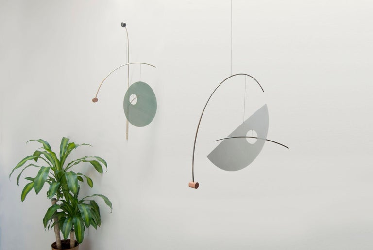 Sculptural Full Lune Mobile in Brushed Brass and Anodized Aluminum In New Condition For Sale In Brooklyn, NY