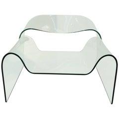 Sculptural Ghost Glass Armchair Chair Designed by Cini Boeri for Fiam Italia
