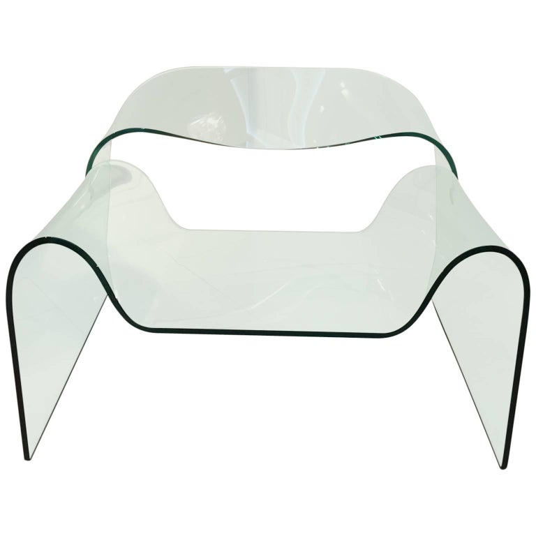 Sculptural Ghost Glass Armchair Chair Designed by Cini Boeri for Fiam Italia For Sale