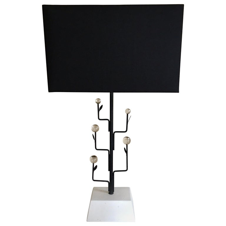 Sculptural Giacometti Style Italian Modern Metal Tree Table Lamp For Sale