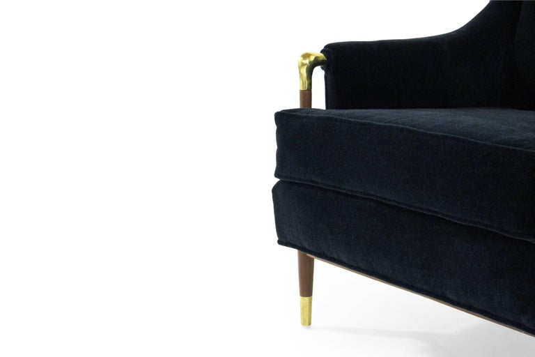 Brass Sculptural Gio Ponti Style Lounge Chair, 1950s For Sale