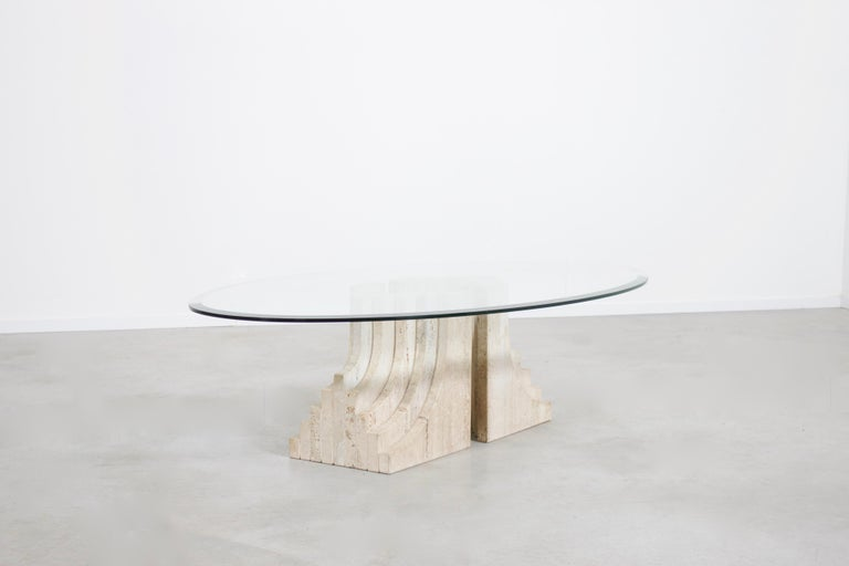 Mid-Century Modern Sculptural Glass and Travertine Coffee Table, 1970s For Sale