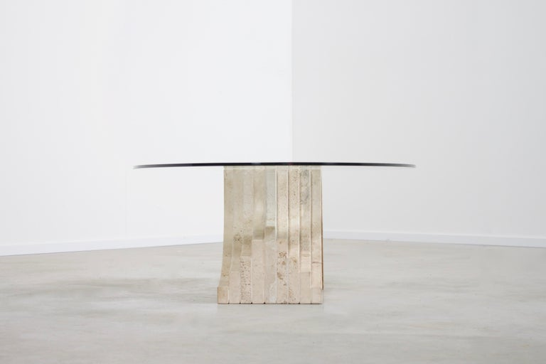 Italian Sculptural Glass and Travertine Coffee Table, 1970s For Sale