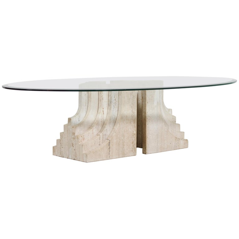 Sculptural Glass and Travertine Coffee Table, 1970s For Sale