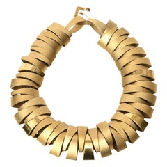 Sculptural Gold Plated Collar Necklace