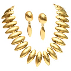 Sculptural Gold Plated Necklace & Pair of Clip On Dangle Earrings