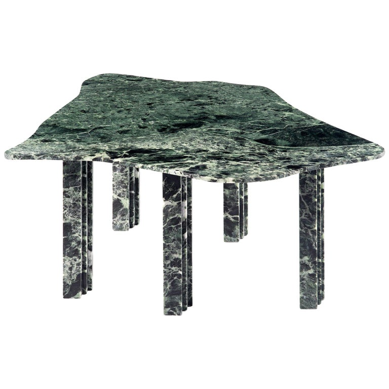 Sculptural green marble coffee table - Lorenzo Bini Title: No-thin Measures: 90 x 75 x H 37 cm Material: Verde Alpi  Six Tableaux is a series of marble tables designed by Lorenzo Bini and built by Atzara Marmi with the support of Margraf. Each