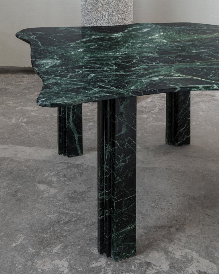 Contemporary Sculptural Green Marble Coffee Table by Lorenzo Bini For Sale