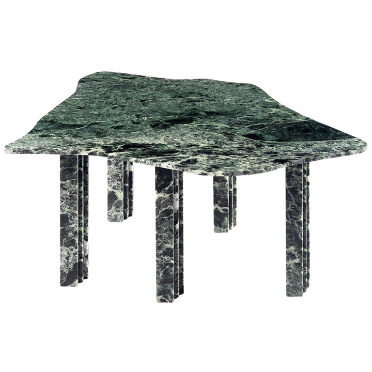 Sculptural Green Marble Coffee Table by Lorenzo Bini For Sale