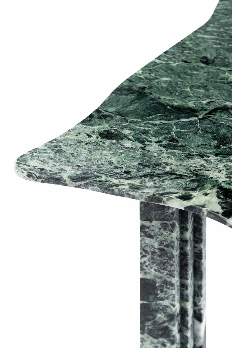 Sculptural green marble table - Lorenzo Bini  Title: No-thing  Measures: - Dining table 180 x 150 x H 73.5 cm - Coffee table 90 x 75 x H 37 cm  Material: Verde Alpi   Six Tableaux is a series of marble tables designed by Lorenzo Bini and