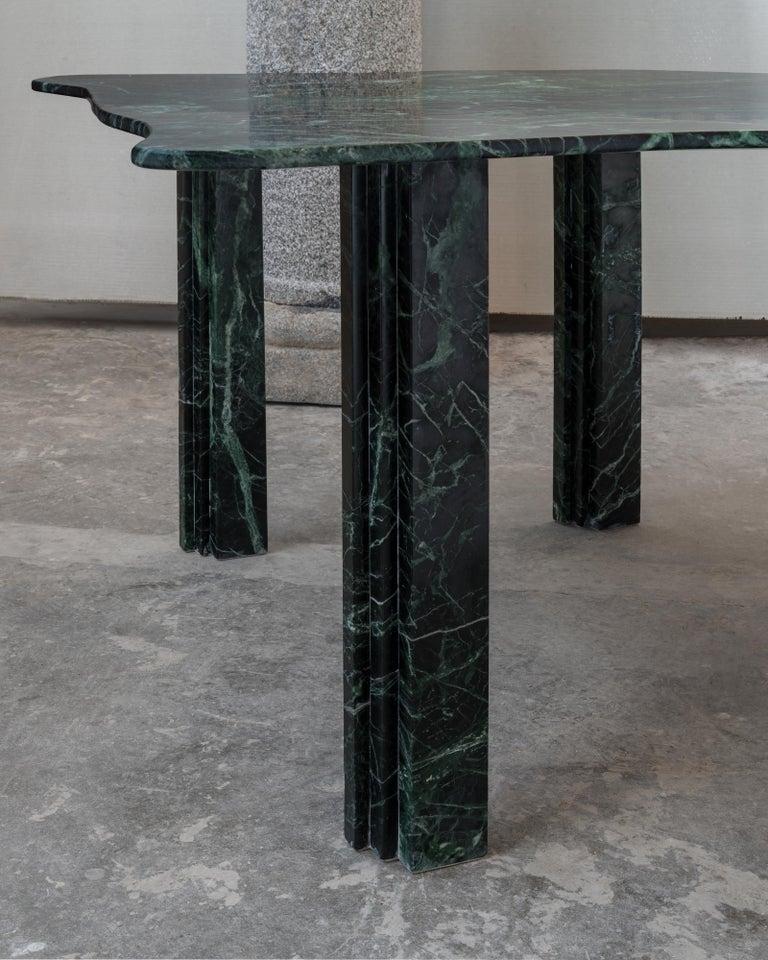 Italian Sculptural Green Marble Table, Lorenzo Bini For Sale