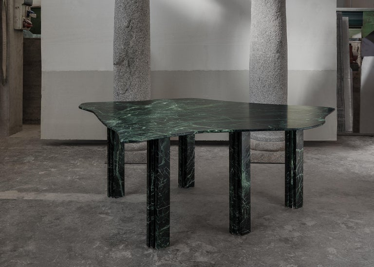 Contemporary Sculptural Green Marble Table, Lorenzo Bini For Sale