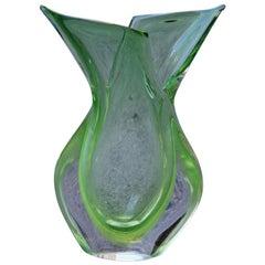 Sculptural Green Vase Murano Design Flavio Poli 1960s Italian Design Sommerso