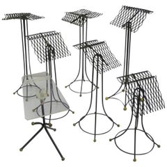 Sculptural Group of 7 Modern Black Wire Store Display Stands, 1930s-1940s
