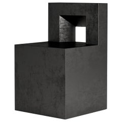 Sculptural GV Chair by Jonathan Nesci Crafted in Chemically Blackened Steel