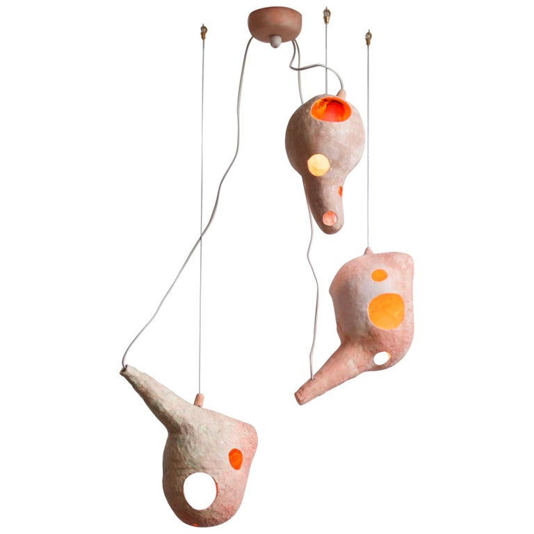 Sculptural Hand-Built Ceramic Multi-Shell Chandelier Lamp by Yuko Nishikawa For Sale