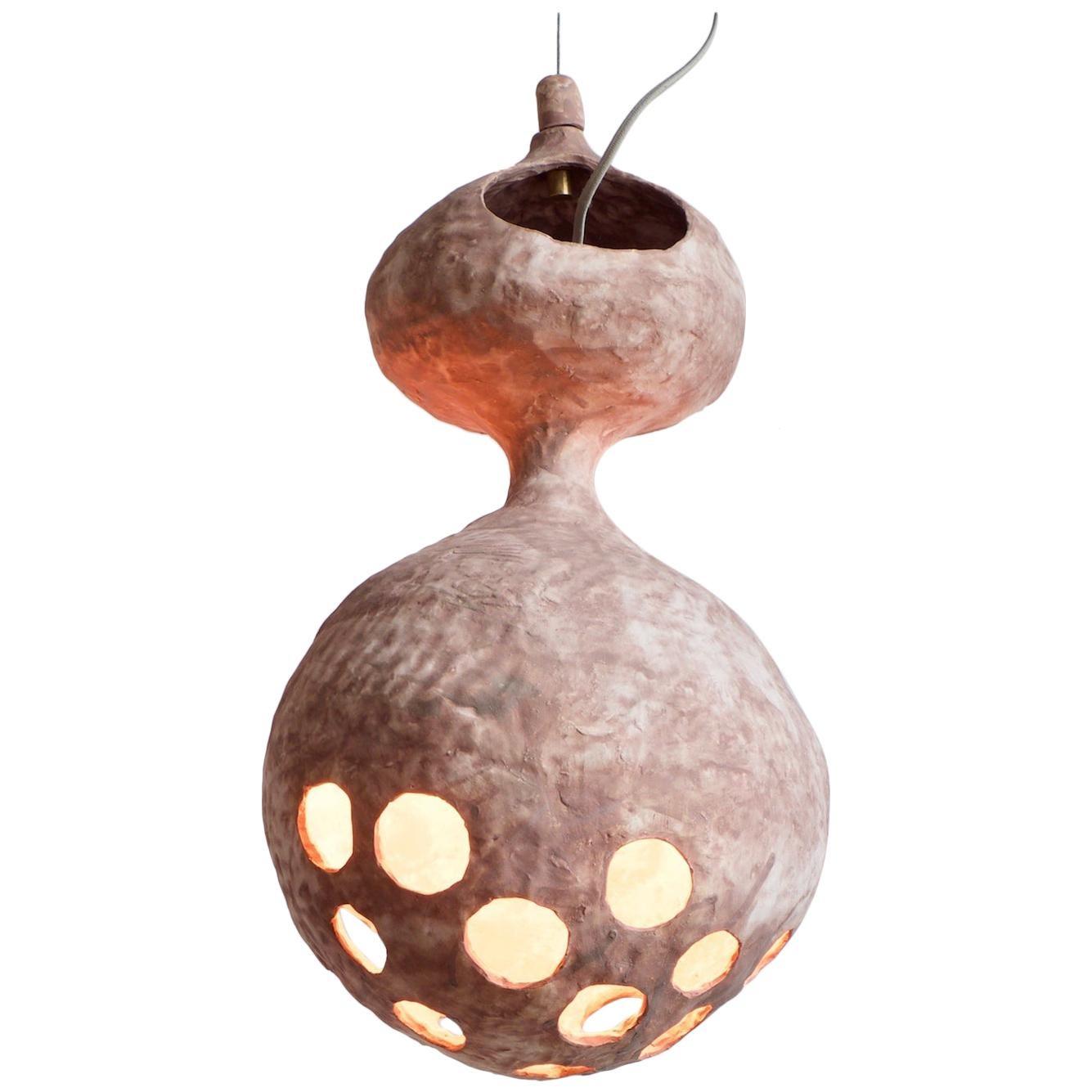 Sculptural Hand-Built Ceramic Pendant Lamp in Matte Earth-Tone by Yuko Nishikawa