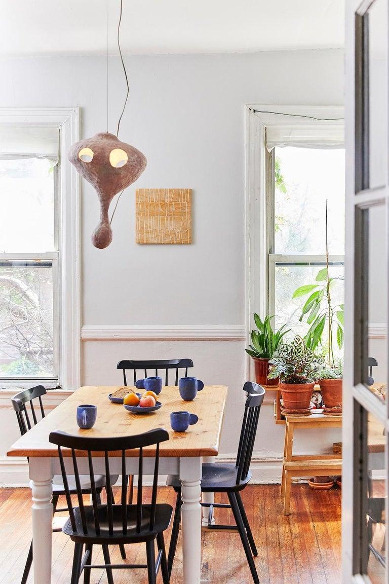 American Sculptural Hand-Built Ceramic Pendant Lamp in Matte Pink by Yuko Nishikawa For Sale