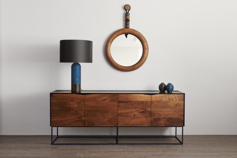 American Sculptural Handcrafted Walnut Bead and Ring Mirror For Sale