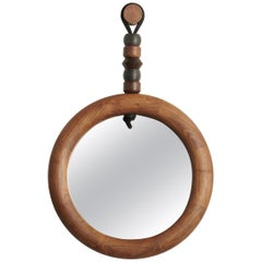Sculptural Handcrafted Walnut Bead and Ring Mirror