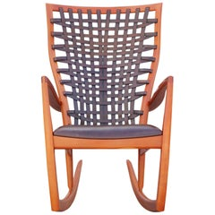 Sculptural Modern Handmade Cherrywood and Woven Leather Rocking Chair