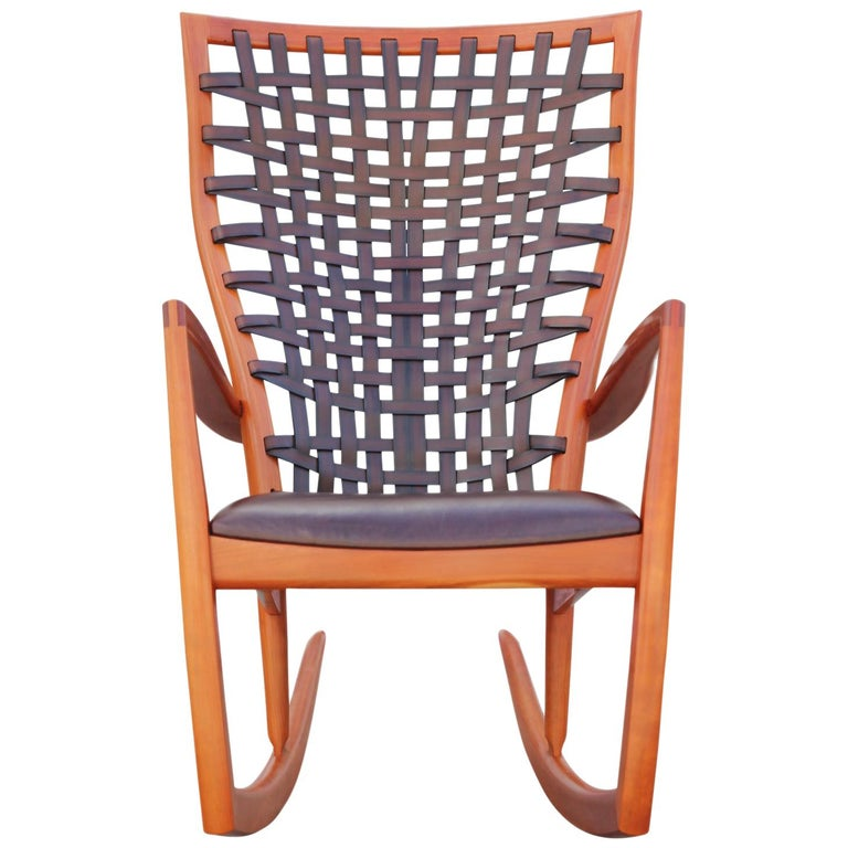 Astounding Sculptural Modern Handmade Cherrywood And Woven Leather Rocking Chair Gmtry Best Dining Table And Chair Ideas Images Gmtryco