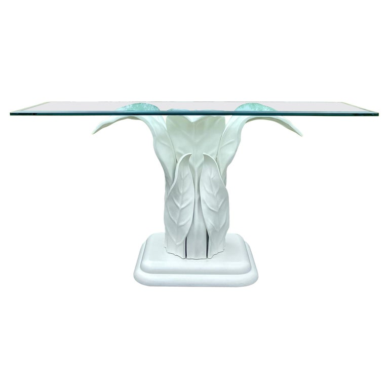 Sculptural Hollywood Palm Regency Entry Hall Console Table Tropical Banana Leaf For Sale